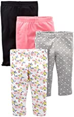 Simple Joys by Carter's Baby Girls' 4-Pack Pant, Navy, Gray Dot, Pink, Floral, 18 Months