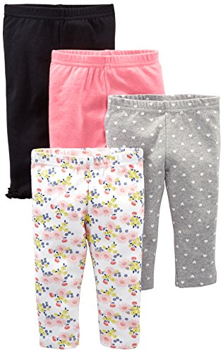 Simple Joys by Carter's Baby Girls' 4-Pack Pant, Navy, Gray Dot, Pink, Floral, 12 Months