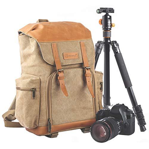 TARION Kamerarucksack Fotorucksack Wasserdichte Kameratasche Canvas Leinenstoff Vintage Kamera Rucksack für Spiegelreflex Kamera Objektive und Stativ