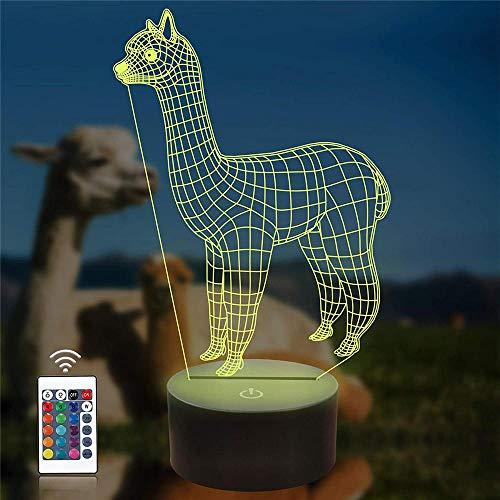 3D LED noche luz 3D ilusión lámpara alpaca animal ilusión óptica LED lámpara de mesa botón táctil con 16 colores que cambian para regalo de cumpleaños de Navidad