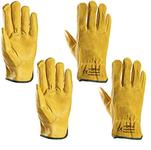 Garden Gloves Thorn Proof, Xndryan 2 Pairs Flexible Heavy Duty Gardening Gloves, Breathable and Comfortable Leather Work Gloves for Men and Women(L)