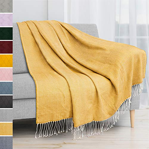 PAVILIA Herringbone Blanket Throw with Fringe | Knitted Throw with Tassels for Couch Bed Sofa | Decorative Farmhouse Soft Lightweight Plush Fuzzy Cozy | Mustard Yellow, 50 x 60 Inches