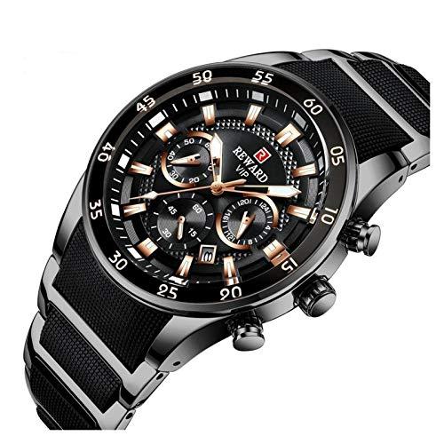 CHICAI Reloj de pulsera de cuarzo para hombre, de acero completo, cronógrafo, de negocios, color negro
