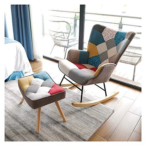 Qingqi Silla oscilante de jardín Cotonera Natural de algodón y Lino Sofá reclinable Sofá Color Matching Diseño Sala de Estar Balcón Estilo Europeo, con Pedales 71x90x96cm