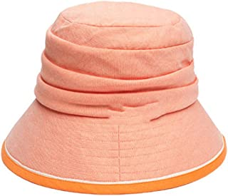 ZXH77f-Fashion hat Womens Bucket Hat Summer Foldable,Ladies Panama Beach Hats, Packable Wide Brimmed Hat Cotton,Fedora UPF 50+ (Color : Orange)