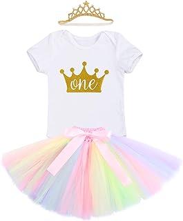 f5ca6482e FYMNSI Infantil Bebé Niña Primer 1er Cumpleaños Traje Unicornio Mameluco  Romper Falda de Princesa Tutú Diadema