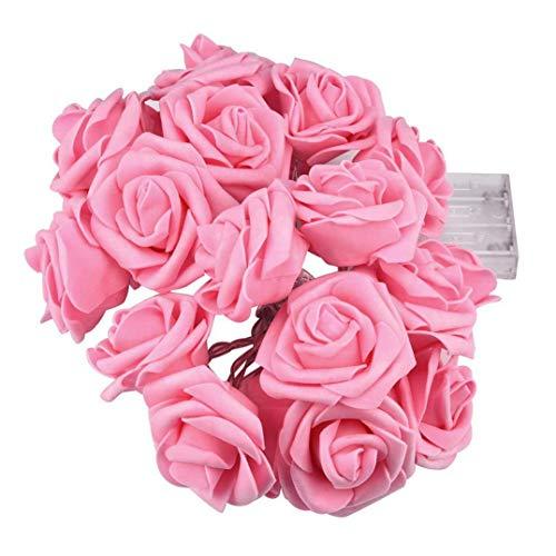 LED flor rosa pequeña linterna luz intermitente cadena de luz decoración del dormitorio flor batería luz fiesta confesión romántica cadena de luz 3M