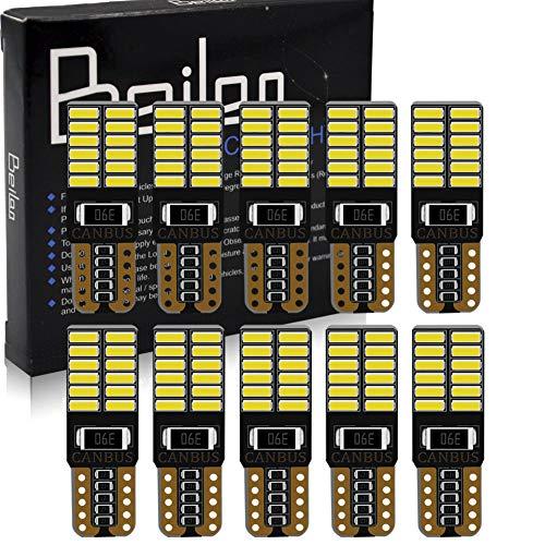 BeiLan T10 W5W Canbus Coche LED Bombillas 24-SMD 4014 Chipset blanco Exterior LED Bombillas Canbus Error Free para 194 168 501 2825 Luces de la placa interior del auto Paquete de 10