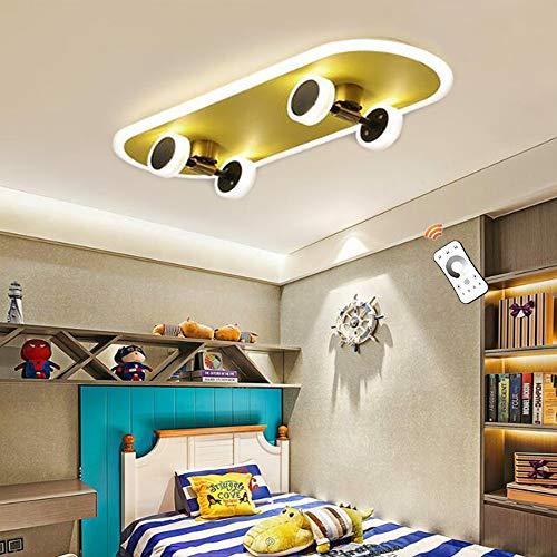 Skateboard Deckenleuchte Modern Dimmbar Deckenlampe LED 32W Cartoon Kinderlampe Acryl Kronleuchter Jungen Mädchen Schlafzimmer Deckenbeleuchtung Kinderzimmer Wohnzimmer Kindergarten Beleuchtung Gold