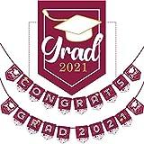 Bandera de Graduación de 2021, Bandera de Graduación de No Se Requiere Bricolaje Decoración Fiesta de Felicitación para Suministros Fiesta Universidad, Escuela Secundaria (Marrón )