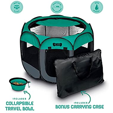 Ruff 'n Ruffus Pets Portable Foldable Pet Playpen + Carrying Case & Collapsible Travel Bowl (Extra Large (48  x 48  x 23.5 ))