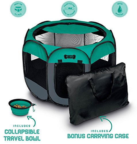 Ruff 'n Ruffus Portable Foldable Pet Playpen + Free Carrying Case + Free Travel Bowl | Available in 3 Sizes