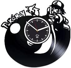 Kovides Pokemon Vinyl Clock, Handmade Clock, Best Gift for Kids, Pikachu Birthday Gift, Vinyl Record Clock, Silent, Wall Clock Modern, Pokemon Birthday Gift for Boy, Wall Clock Large