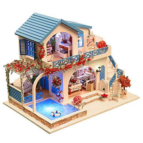 Decdeal Miniatura Súper Mini Tamaño Casa de Muñecas Kits de Modelos de Construcción de Muebles de Madera Juguetes Casa de Muñecas DIY Ciudad Azul y Blanca