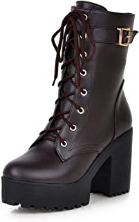 Women's Cool Platform Lace-Up Block Heels Boots Ladies Winter Concise Comfortable Shoes