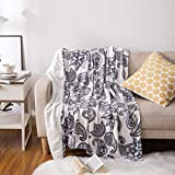 UYIS Throws Blankets for Sofa, 50' 60' Extra Soft Paisley White and Black Creative Flannel Blanket Lightweight Blanket Cozy Plush Fleece Microfiber Double Sided Blanket for Couch Bed Adult and Kids