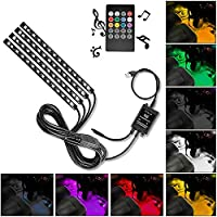 4-Piece Nilight 48 LEDs USB Interior Lights DC 5V Multicolor Music Car Strip Light Under Dash Lighting Kit with Sound Active Function and Wireless Remote Control (TR-12)