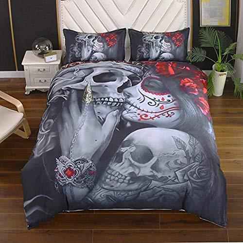 Juego de Funda Nórdica Gothic Skull 220 x 240 cm Skeleton Bones Juego de Cama Juego de Colchas 3 Piezas Cráneo Monroe Beso Microfibra Funda Nórdica Halloween para Adulto Niños y Adolescentes