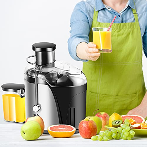 Juicer Machines Electric, 500ml Centrifugal Juicer Vegetable and Fruit Extractor Blender Whole Fruit and Vegetable Juicer with 304 Stainless Steel Microporous Net Anti-skid Silicone Footpad, 21000 Rpm