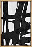 SIGNFORD Framed Canvas Wall Art Bold Ink Stroke with Grid and Texture Abstract Brushstroke Illustrations Minimalism Modern Expressive Black and White for Living Room, Bedroom, Office - 24x36 inches