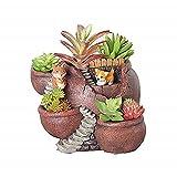 Xueliee Plantas creativas maceta plantas flores suculentas DIY contenedor decorado con mini jardín colgante de hadas y dulce casa para decoración de vacaciones y regalo