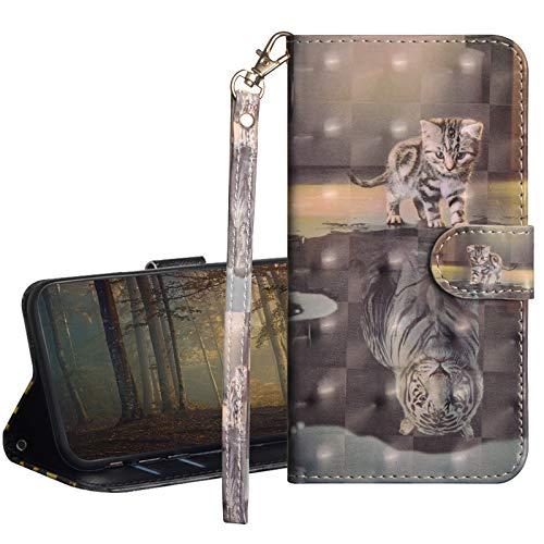 GrandoinChoice Funda para Samsung Galaxy J3 2017 / J330, Superficie Colorida 3D PU Cuero Case Cuerpo Completo Carcasa Protectora Cartera Soporte Plegable Función Fundas Case Cover(Gato Tigre)