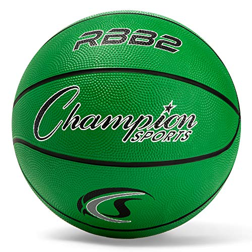 Champion Sports Rubber Junior Basketball, Heavy Duty - Pro-Style Basketballs, Various Colors and Sizes - Premium Basketball Equipment, Indoor Outdoor - Physical Education Supplies (Size 5, Green)