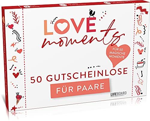 Love Moments Losbox für Paare - 50 Gutscheine - Liebe, Spaß und Spiel für Pärchen - Geschenk für Sie und Ihn - Geschenkidee Freund - Jahrestag - Hochzeitstag - Frauen - Männer - Lifeboard