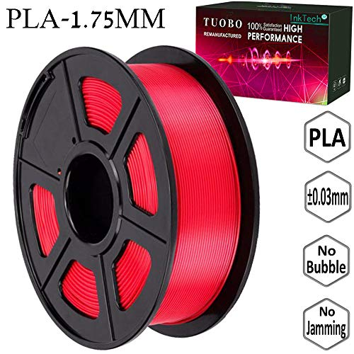 Tuobo PLA Filament 1.75mm Red 3D Printer Consumables, 1kg Spool (2.2lbs), Dimensional Accuracy +/- 0.05 mm, Fit for Most DIY Printer and 3D Pen
