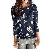 Maglietta da donna a maniche lunghe, con stampa a lettera, camicetta casual, in cotone Blend Tops, S-XXL, Blu (Blu marino), X-Large