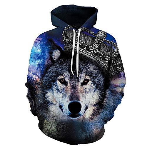 Preisvergleich Produktbild Kapuzenpullover, Wolf King Serie Herren 3D Hoodie Outdoor Sweatshirts Unisex Casual Sportswear Mit Tasche-Multicolor M
