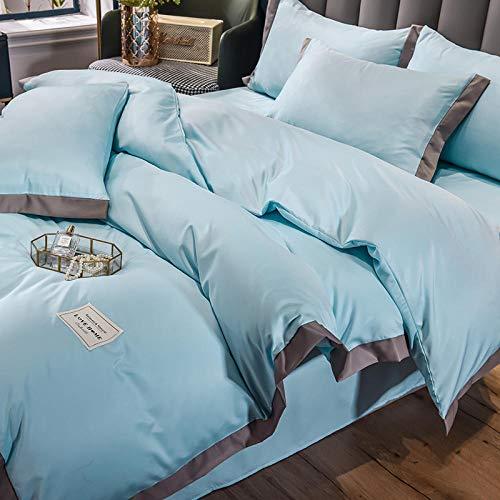 funda nordica cama 90,Conjunto de verano de seda de hielo de color seda de cuatro piezas de lavado de agua de cuatro piezas.-Esconder_1,5 m la cama (4 piezas) Adecuado para colchas 200x230cm