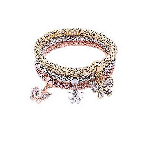 MEIDIJINGBEI 3PCS Silver Rose Gold Corn Chain Crystal Charms Multilayer Butterfly Bracelets for Women Jewelry