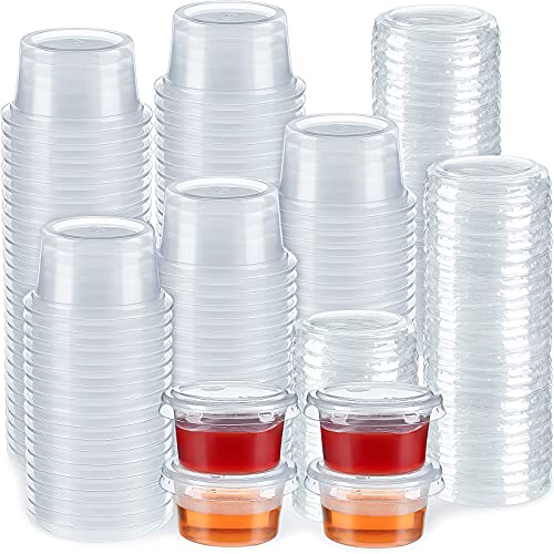 200 Sets Plastic Portion Cups with Lids Clear Souffle Cups Jello Shot Cups Condiment Sauce Containers Disposable Food Containers with Lids, 1 Ounce