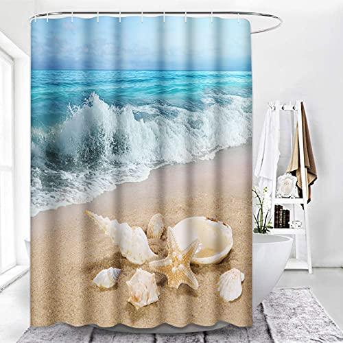 ArtSocket Duschvorhang Muscheln Meer Strand Sommer Azurblau Wasserdicht Polyester Stoff Badezimmer Dekor Bad 183 x 183 cm Set mit Haken