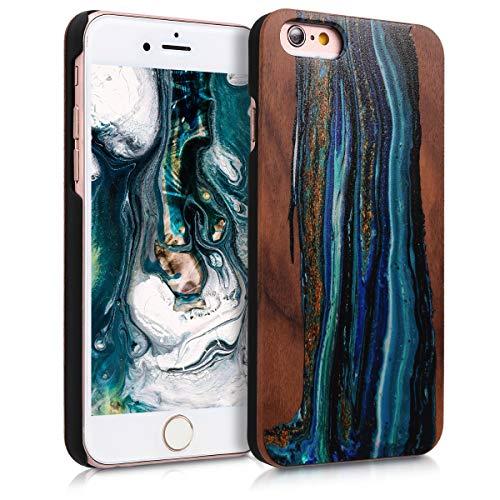kwmobile Coque Compatible avec Apple iPhone 6 / 6S - Housse de Protection Rigide pour Télephone en Bois Vague Bleu-Marron