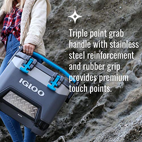 Igloo BMX 25 Quart Cooler with Cool Riser Technology, Fish Ruler, and Tie-Down Points - 11.29 Pounds - Carbonite Gray and Blue