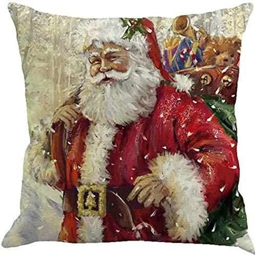 Hugyou Funda de almohada creativa con diseño de Papá Noel, funda de almohada para reposacabezas para decoración de fiestas de Navidad