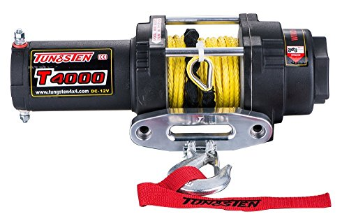 Tungsten4x4 T4000S 1.6 HP ATV/UTV Electric Winch 4000 lbs Capacity Waterproof IP68 with Synthetic Rope, Both Wireless Handlebar Remote and Hawse Fairlead