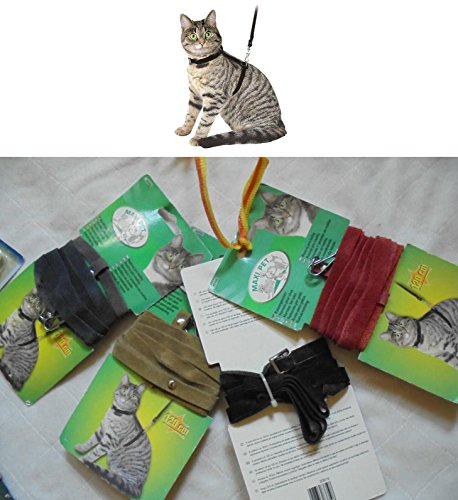 Kerbl 83820 Katzengeschirr mit Leine 120 cm, Grau aus Veloursleder