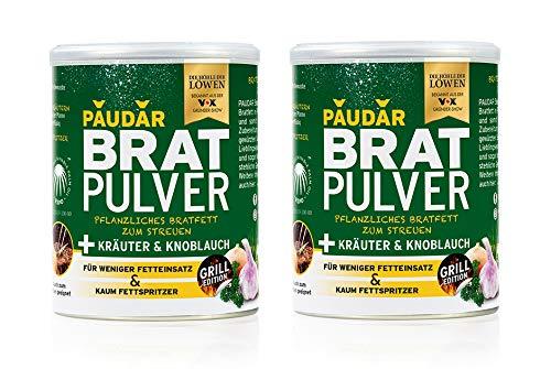PAUDAR Bratpulver Grilledition Kräuter & Knoblauch   100% pflanzliches Bratfett zum Streuen mit Gewürzen, weniger lästige Fettspritzer   fettarme Zubereitung beim Grillen und Marinieren [2er-Set]