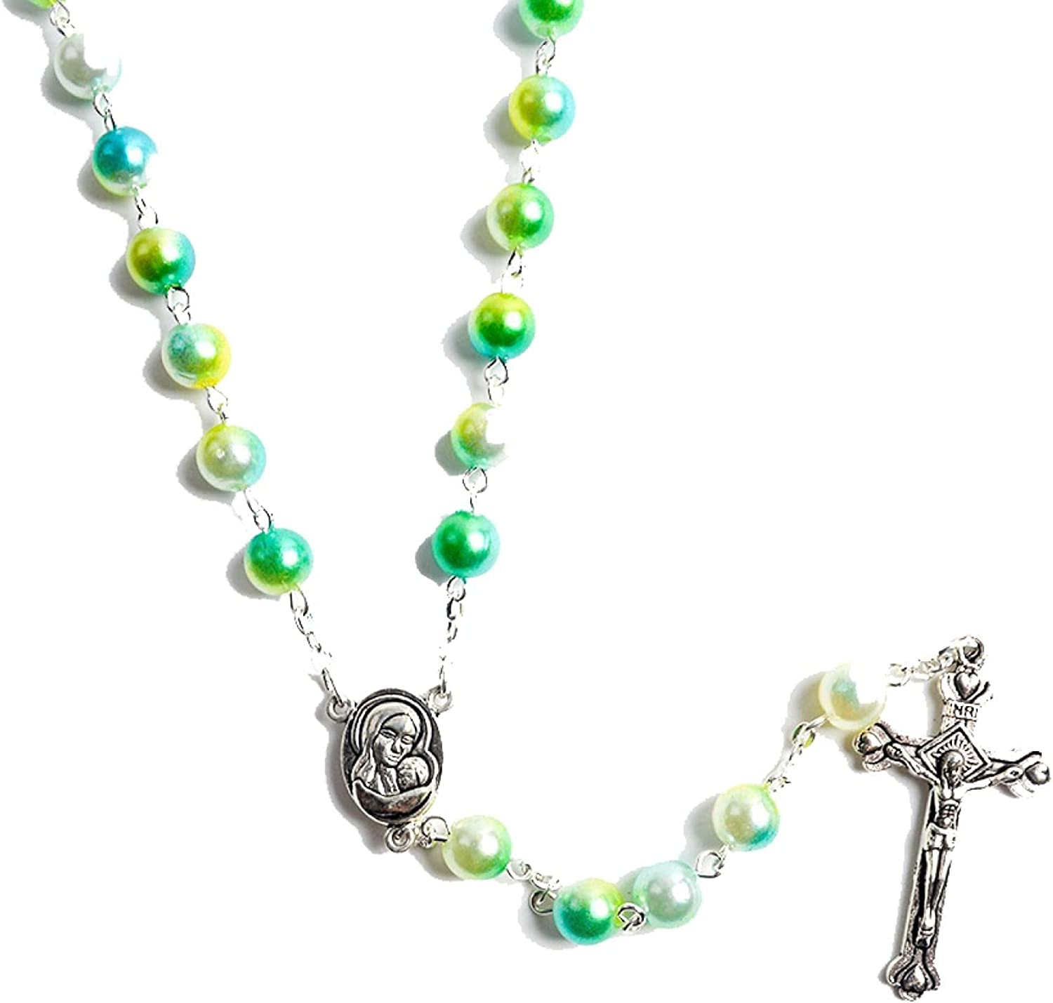 Fashion Handmade Multicolor Pearl Rosary Beads Necklace With Alloy Chaion Catholic Cross Pendant Charm Women