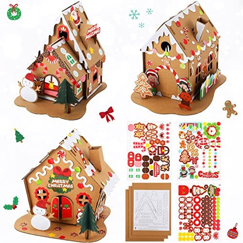 Christmas Craft Kit Christmas Gingerbread House Kit Sets of 3 Christmas Craft House Make-a-Gingerbread House Craft for Boy Girl Christmas Party Game Craft Activity Favor Supplies Christmas Home Decor