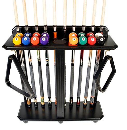 Queue Rack nur–10Pool–Billard Stick & Ball Set Boden–Ständer wählen Sie Mahagoni, schwarz oder Eiche Finish, schwarz