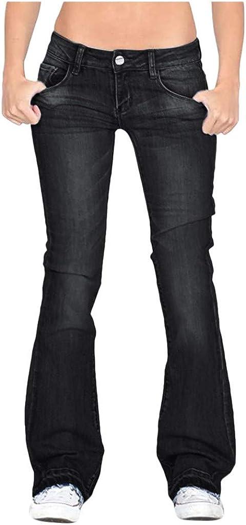 Joyionier Pants Women Flare Jeans Mid Waist Bell Jeans Stretch Slim Pants Length Jeans