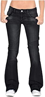 Remanlly Women Flare Jeans Mid Waist Bell Jeans Stretch Slim Pants Length Jeans