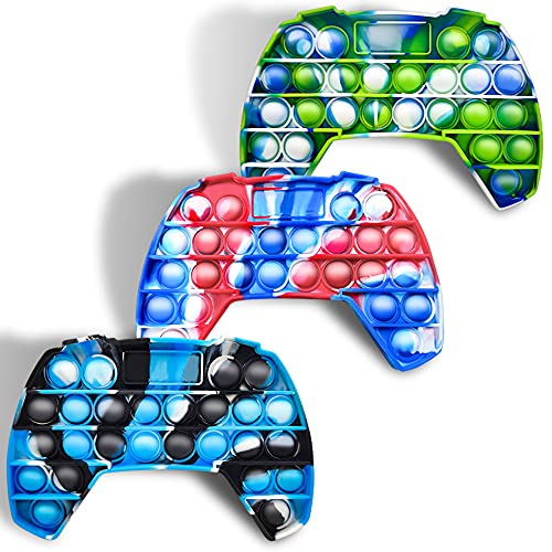 Fidget 3 Stück Push Pop Bubble It Game Controller Shape Tie Dye Pop Fidget Spielzeug Bubble Pop It's Game Board