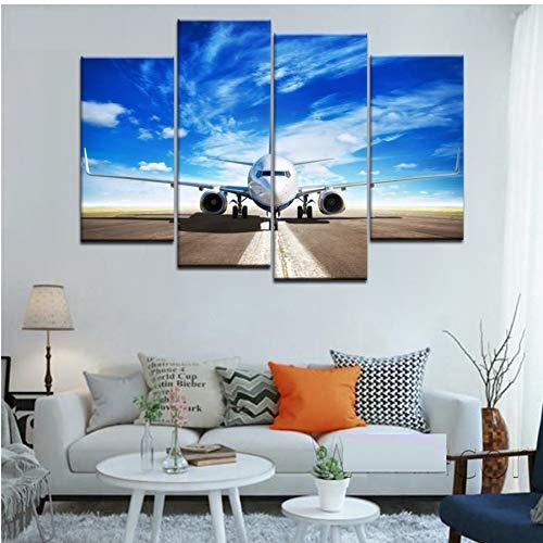 WLEZY canvasschilderij 4 stuks HD vliegtuig landing in blauwe sky canvasdruk poster muurkunst canvas schilderij voor woonkamer kantoor decoratie