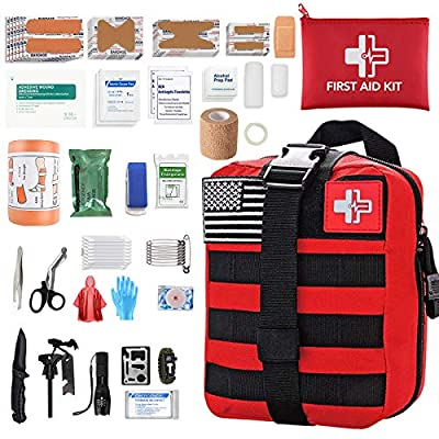 [2020 Upgrade] Medical Reinforcement First Aid Kit Outdoor Tactical Gear Pouch First Aid Supplies Hiking Backpack Safety Set for Boat Car ?RED?