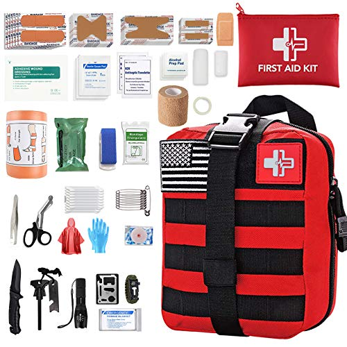 [2020 Upgrade] Medical Reinforcement First Aid Kit Outdoor Tactical Gear Pouch First Aid Supplies Hiking Backpack Safety Set for Boat Car (RED)